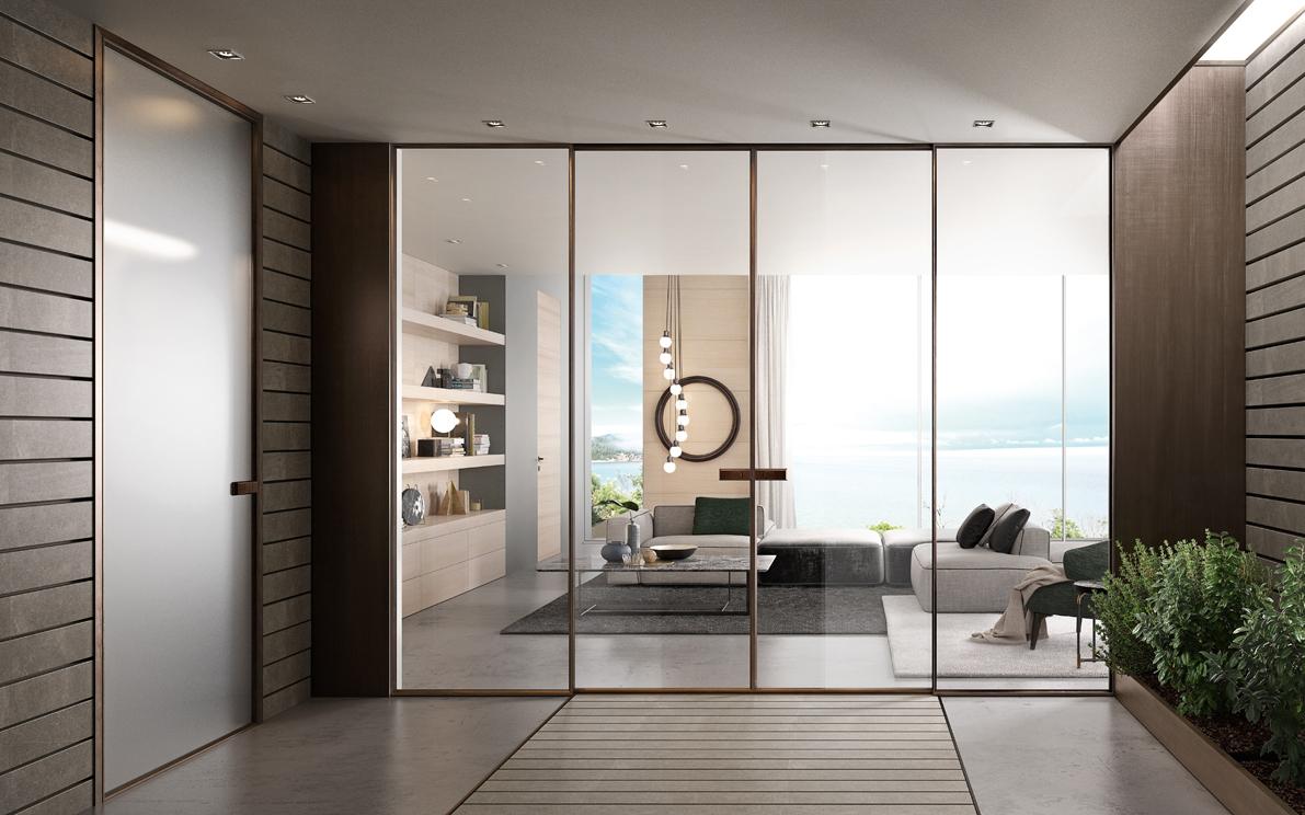 Decori ed effetti Le porte in vetro sono disponibili con tantissimi tipi di decori ed effetti. Puoi infatti scegliere tra i classici vetri trasparenti oppure quelli satinati, colorati, glitterati, con reti metalliche, con decori 3D o incisioni.